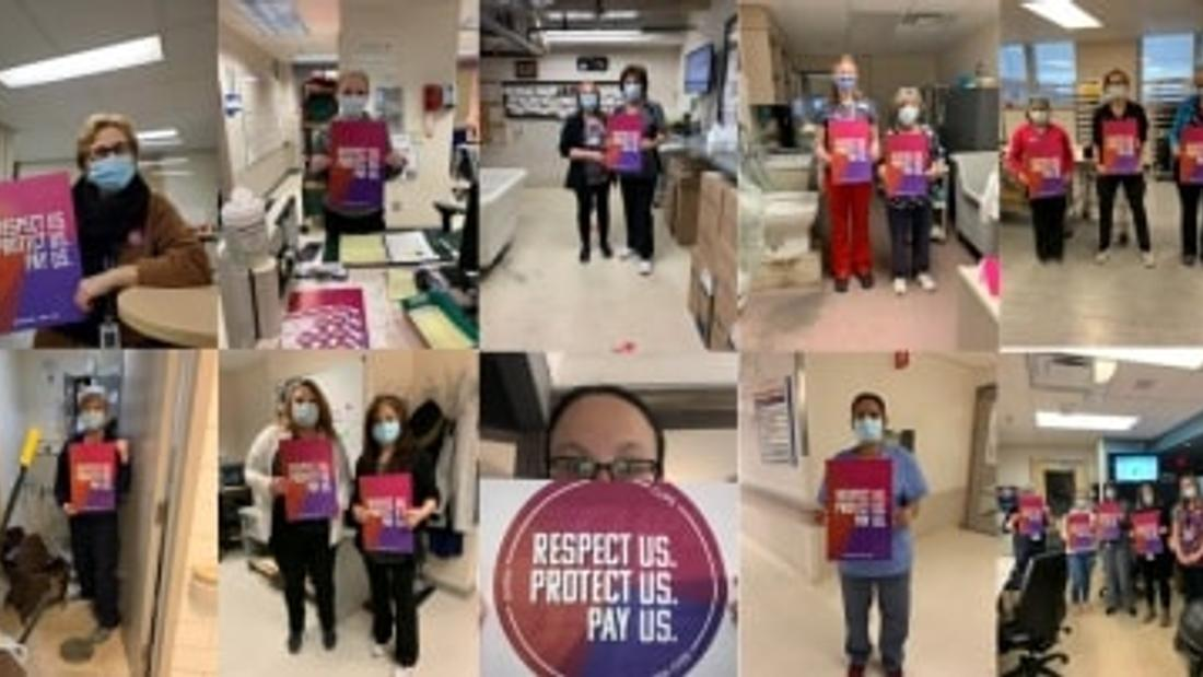 Hospital staff across Ontario hold 'Respect Us - Protect Us - Pay Us' rally on International Women's Day