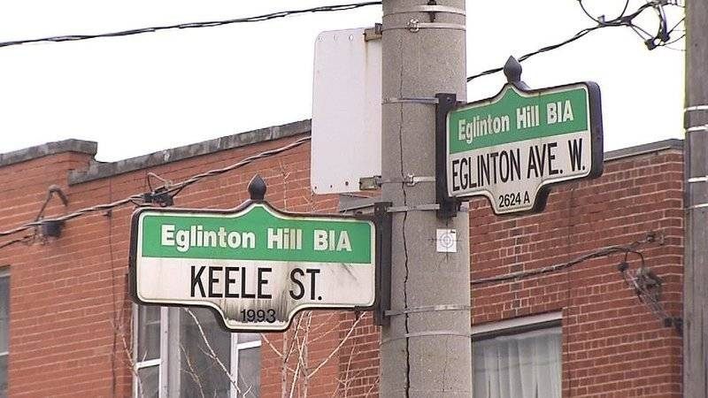 Traffic signs at the intersection of Keele and Eglinton
