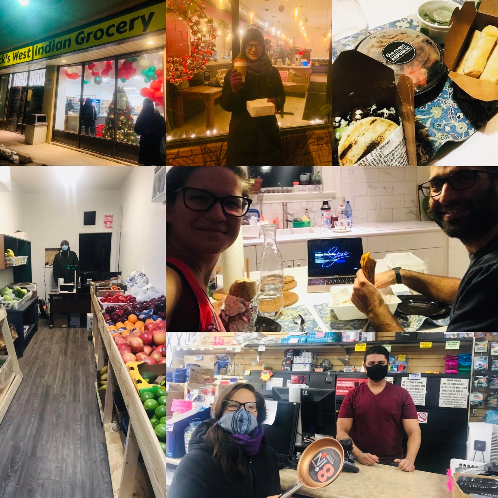 collage of various photos of Chiara at local businesses including: Bannock's West Indian Grocery, Supercoffee, the Arepa Republic, Humber River Fruit and Veggie Market, Enchilados Taqueria and Canadian Outlet Store