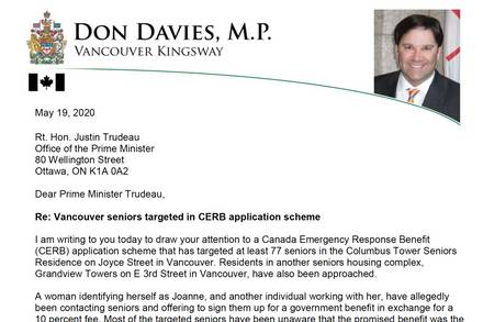 MP Don Davies calls for federal ban on CERB fees