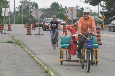 Pop-up bike lanes installed on Moodie Drive