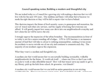 Council speaking notes: Building a modern and thoughtful city