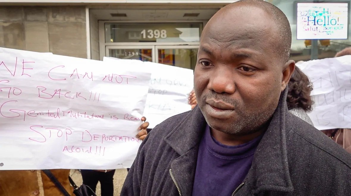 "Claude Saizonou, president of the African Community Organization of Windsor, says his group gathered outside Brian Masse's office because ""we've been through this kind of situation so many time."" (Rozenn Nicolle/Radio-Canada)"