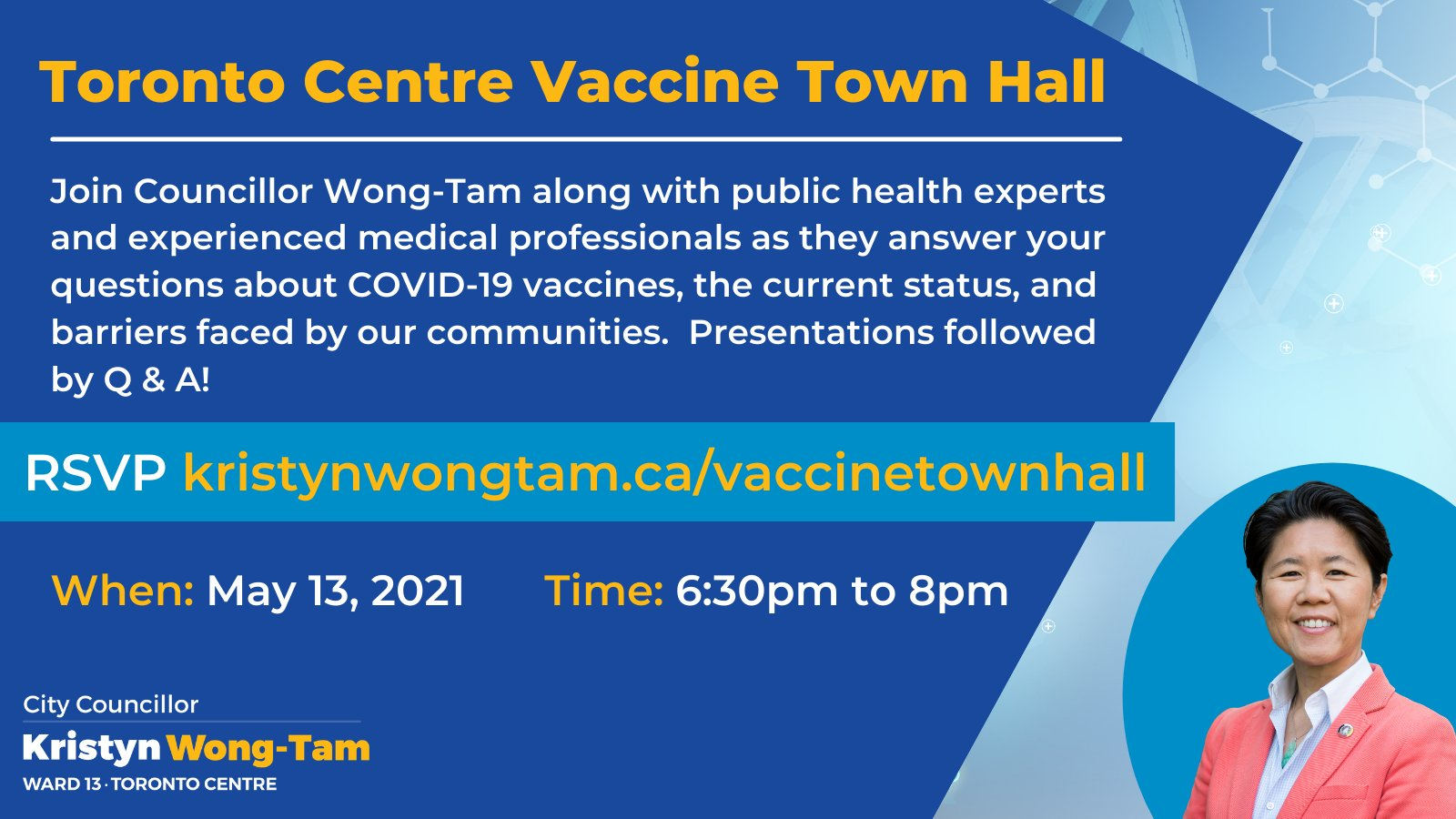 Vaccine town hall promotional graphic
