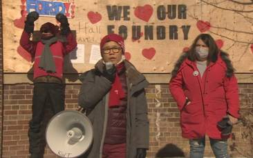 Heritage supporters show love for Dominion Foundry buildings downtown on Valentine's Day