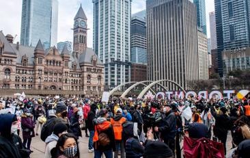 Save Post Thousands gather at Nathan Phillips Square to protest anti-Asian racism in Toronto