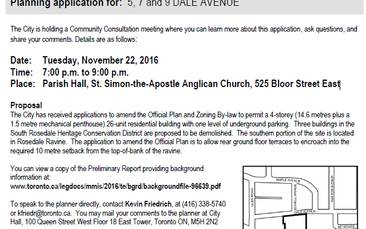 Community Consultation Meeting: 5, 7 and 9 Dale Avenue