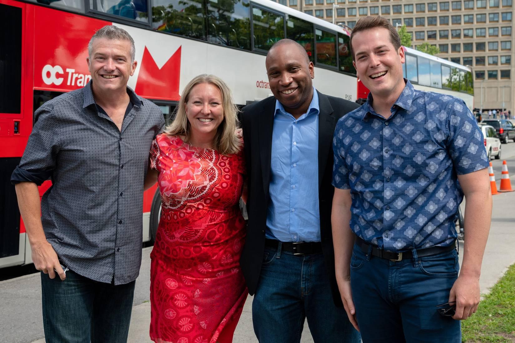 Conseiller Tierney, membre de Parlement Mona Fortier, conseiller King, and conseiller Fleury à l'annonce du lancement TLR.