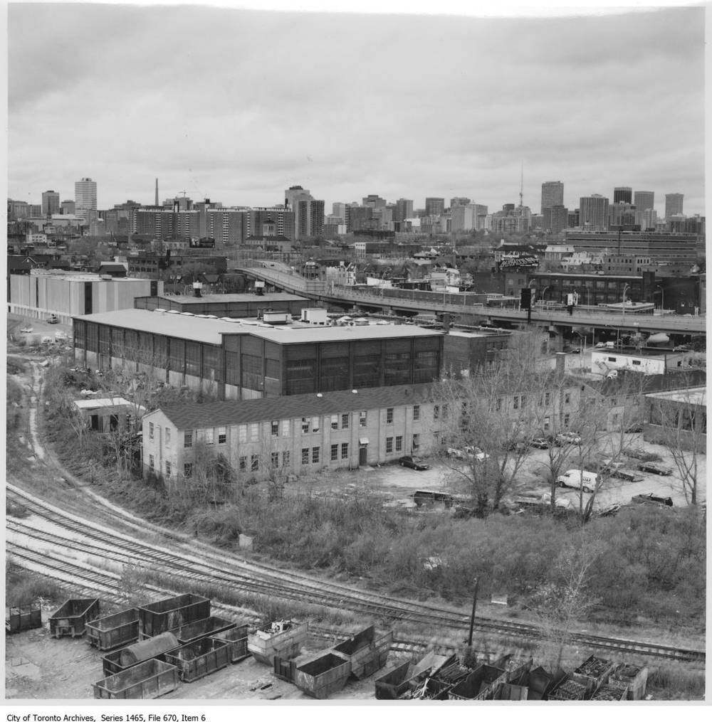 Birds-eye view taken from the southeast; not sure of the date but probably the 1960s. Note the long row building to the east of the site.
