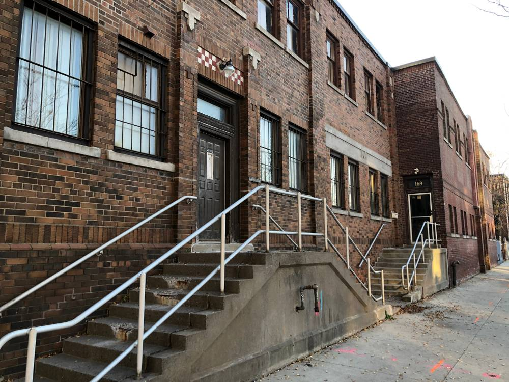 Office building steps, Dominion Wheel & Foundries site, 171 Eastern Avenue
