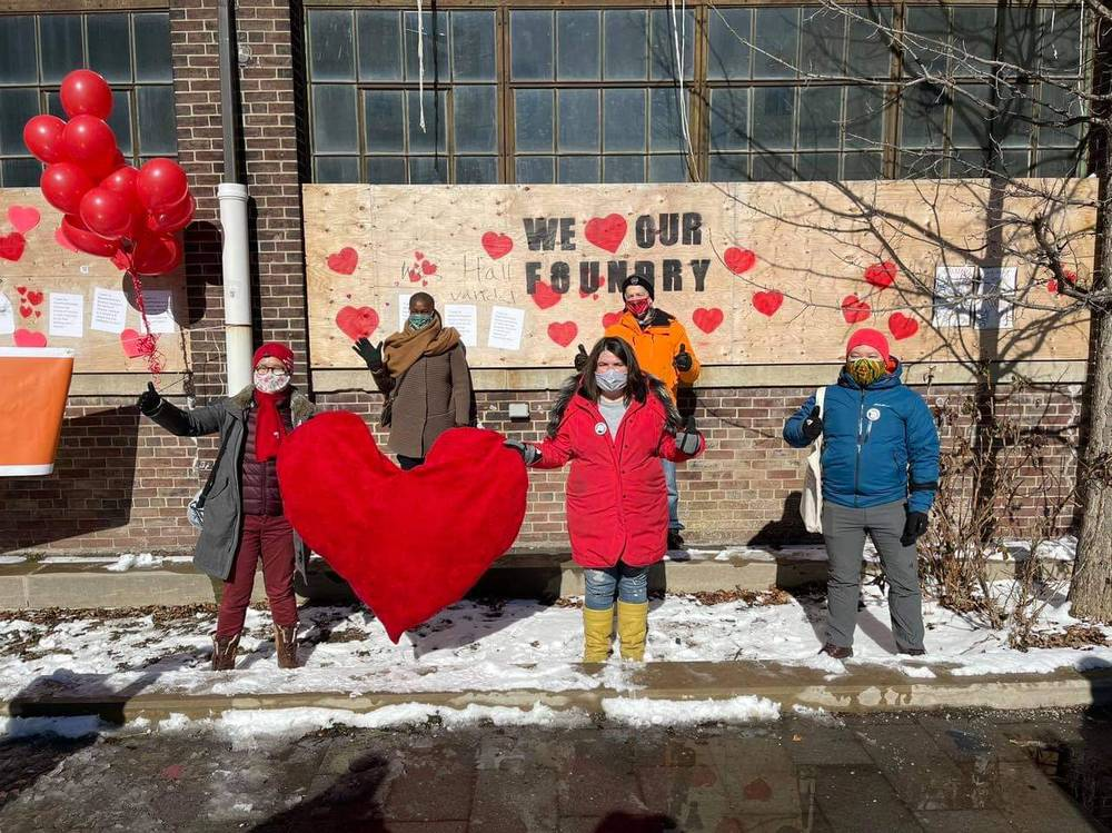 Valentine's Day Rally, February 14: L-R Kristyn Wong-Tam (Ward Councillor), Annamie Paul (Green Party Leader), Suze Morrison (MPP), Chris Glover (MPP), Brian Chang
