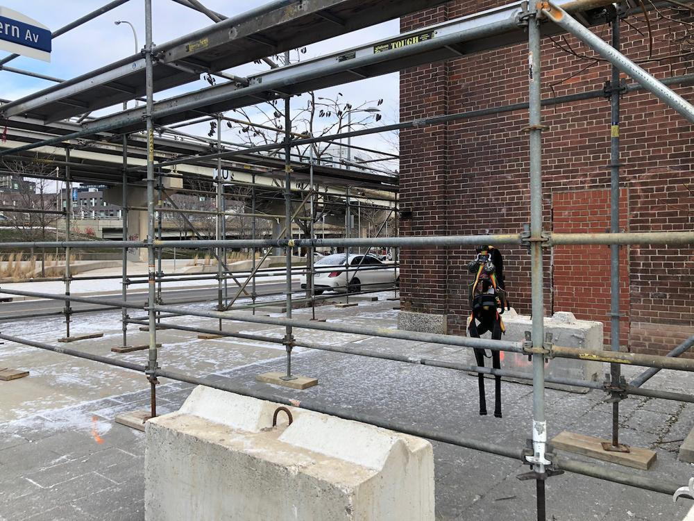 Scaffolding going up at northwest corner of Foundry building, January 22