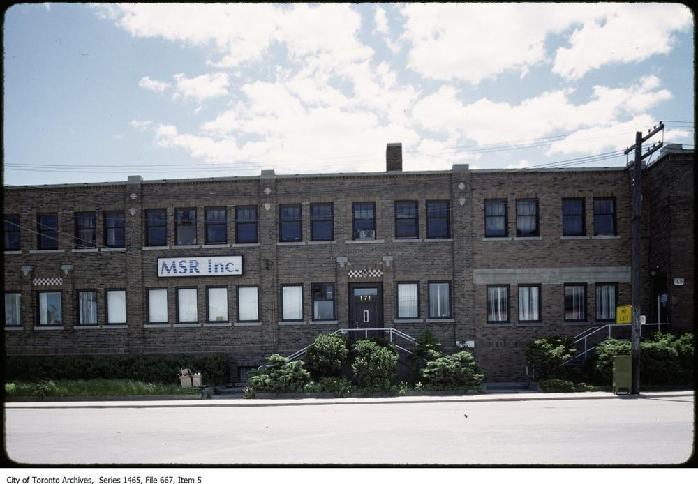 The office building at 171 Eastern, seen from St. Lawrence Street looking south, 1988 or 1989