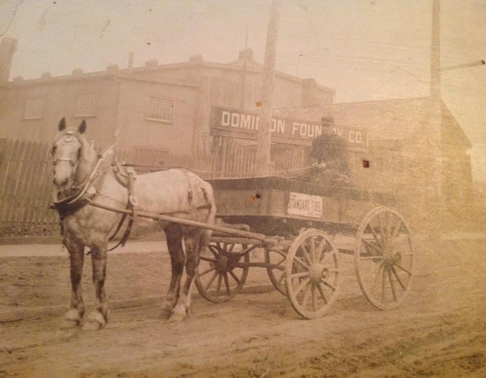 Horse and cart outside the Foundry, date unknown. Submitted by a descendant of the man pictured.