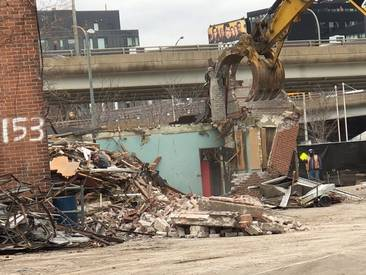 Demolishing the small annex to the Foundry building