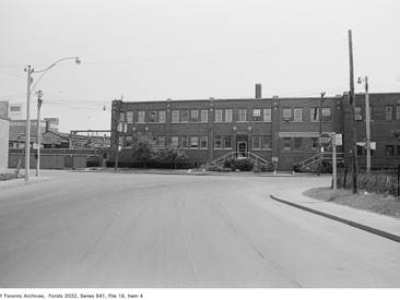Looking south at the office building from St. Lawrence St., 1972