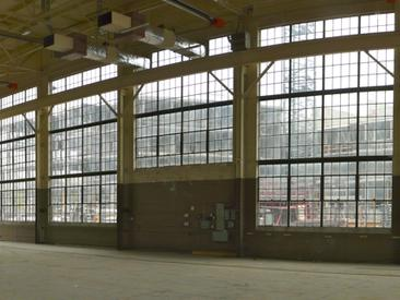Looking northeast from the inside of the machine shop in 2013