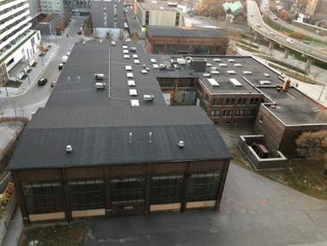 The four remaining buildings of the Dominion Wheel & Foundries Company site, viewed from above looking west