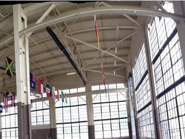 Flags flying in the Machine Shop during the 2015 Pan Am Games