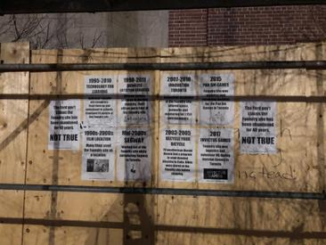 A display listing recent tenants of The Foundry