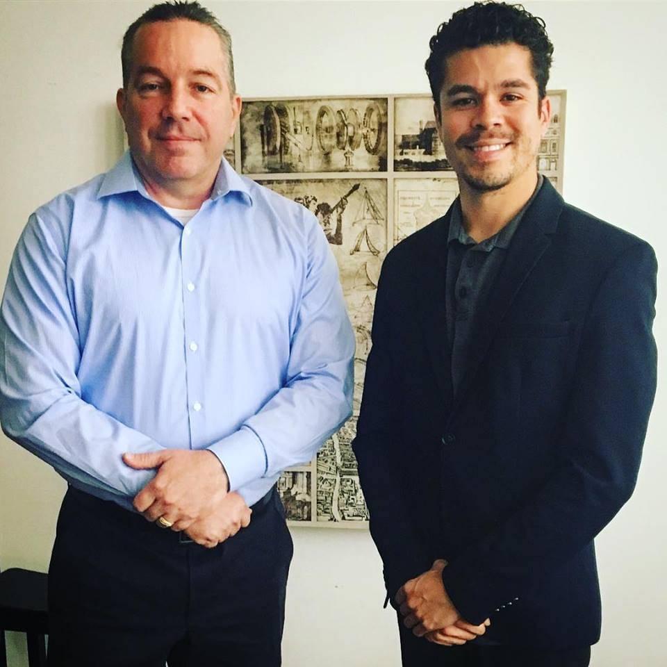 Stonewall Spotlight Host Marcus Lovingood with Stonewall's Endorsed Sheriff candidate Alex Villanueva