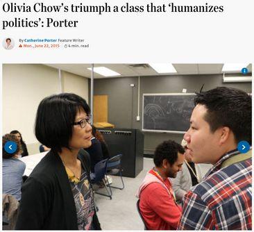 Olivia Chow's triumph a class that 'humanizes politics