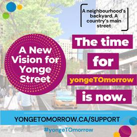 Did you know that over 180,000 people live within 10 minutes of downtown Yonge Street? Toronto is growing, and our most vibrant street in Canada has to catch up. Visit www.yongetomorrow.ca/support to tell City Councillors that you support the #yongeTOmorrow proposal.